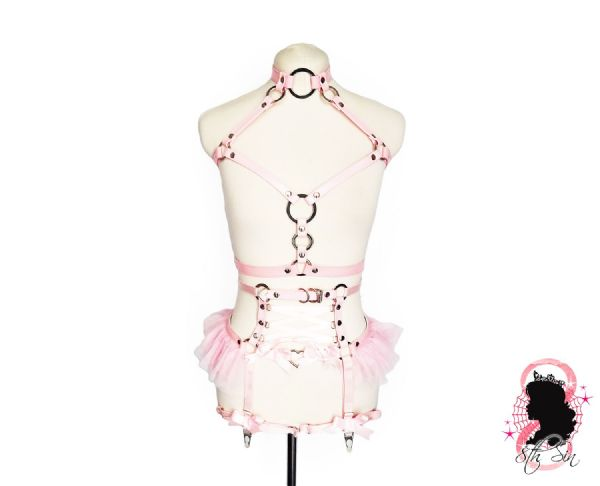 Pink Faux Leather O Ring and Corset Harness Set